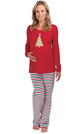 PajamaGram Holiday Stripe Maternity Pajamas for Women, Red, XSM (2-4)