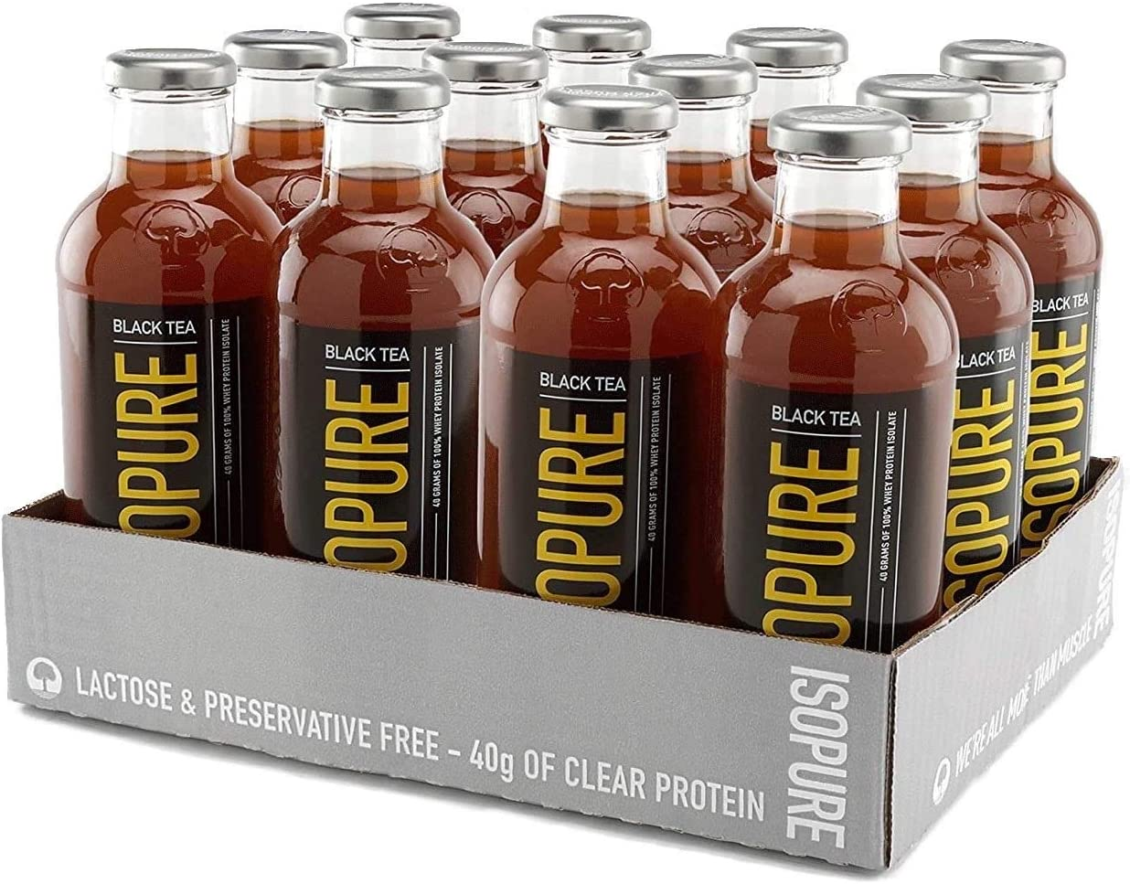 Isopure 40g Protein, Zero Carb Ready-To-Drink- Black Tea Lemon, 20 Ounce (Pack of 12)