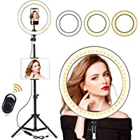"""10"""" Selfie Ring Light with 210CM Long Tripod Stand & Cell Phone Holder - Ring Light for iPhone Android, Light Stand for Live Stream/Makeup, YouTube Video Photography(210CM)"""