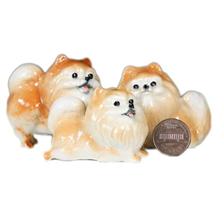 Buy 3 Pomeranian Dogs Puppy Miniature Animal Statue Pottery Figurine
