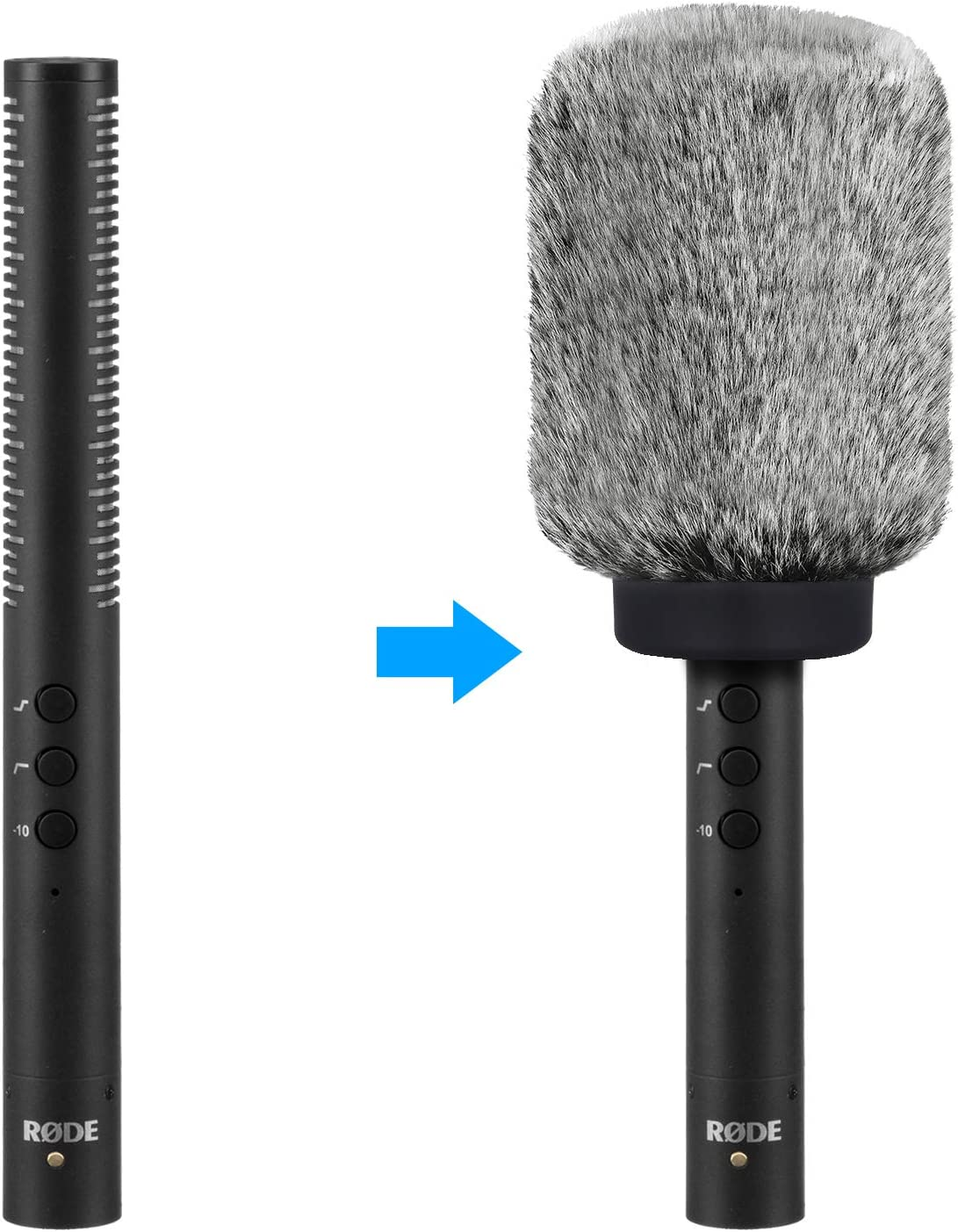Mic Windscreen//Windmuff for Rode NTG4 Black White NTG4 Microphone WindShield Audio-Technica AT875R Shotgun Microphones and Other Mics in Diameter of 18-24mm by YOUSHARES