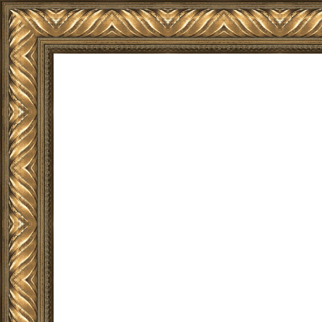 Picture Frame Moulding (Wood) 18ft bundle - Traditional Antique Gold Finish - 2.5'' width - 11/16'' rabbet depth