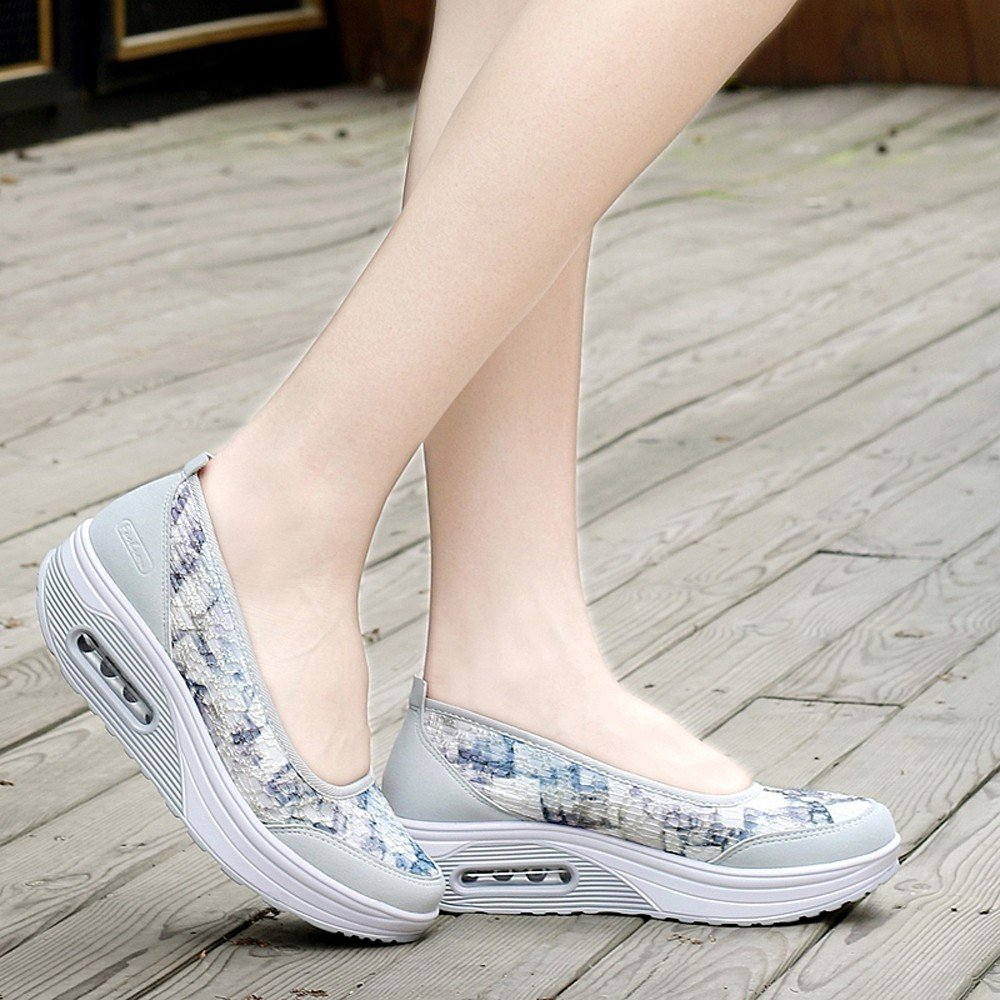 Clearance Sale Sneakers For Women,Farjing Women Air Cushion Net Surface Shoes Shake Shoes Slip Sport Leisure Sneakers(US:6.5,Gray)