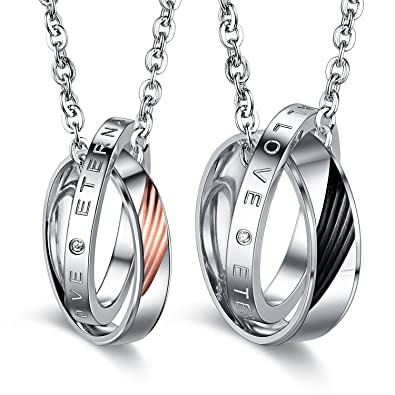 a4733577da Image Unavailable. Image not available for. Color: JAJAFOOK Stainless Steel  Eternal Love ...