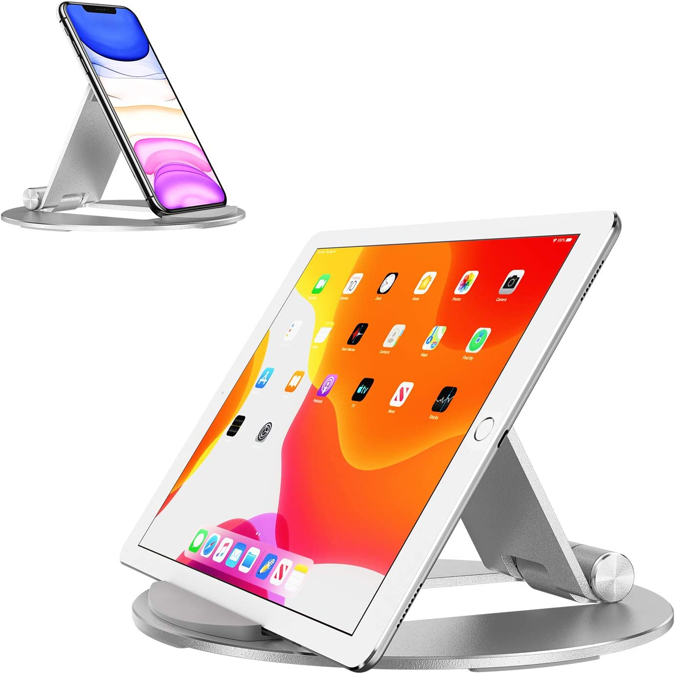 Tablet Stand Adjustable, OMOTON Desktop Aluminum iPad Stand with Anti-Slip Base, Portable Holder Dock for iPad 10.2/9.7, New iPad Pro 11 2020, iPad Air, Samsung Tab, E-Reader and Cellphones, Silver