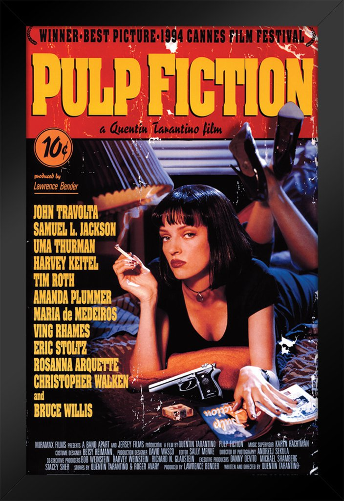 Pyramid America Pulp Fiction Uma Thurman Smoking Framed Movie Poster 14x20 inch