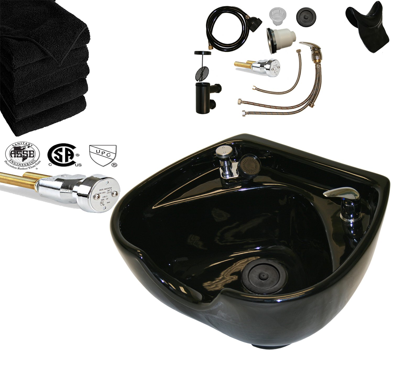 LCL Beauty Heart Shaped Heavy Duty CERAMIC Professional Black Shampoo Bowl w/Vacuum Breaker and 6 black Salon Quality Towels by LCL Beauty