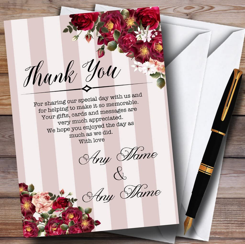 Red Rose /& Stripes Vintage Personalized Wedding Thank You Cards
