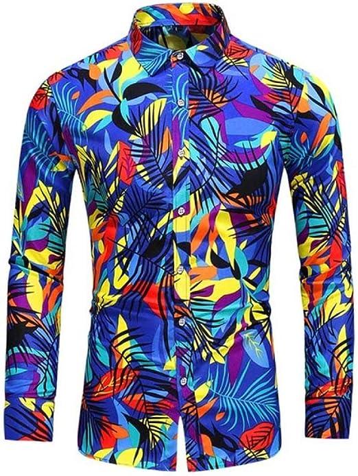 Loeay Blusa de los Hombres Diseño de Moda Camisa ...