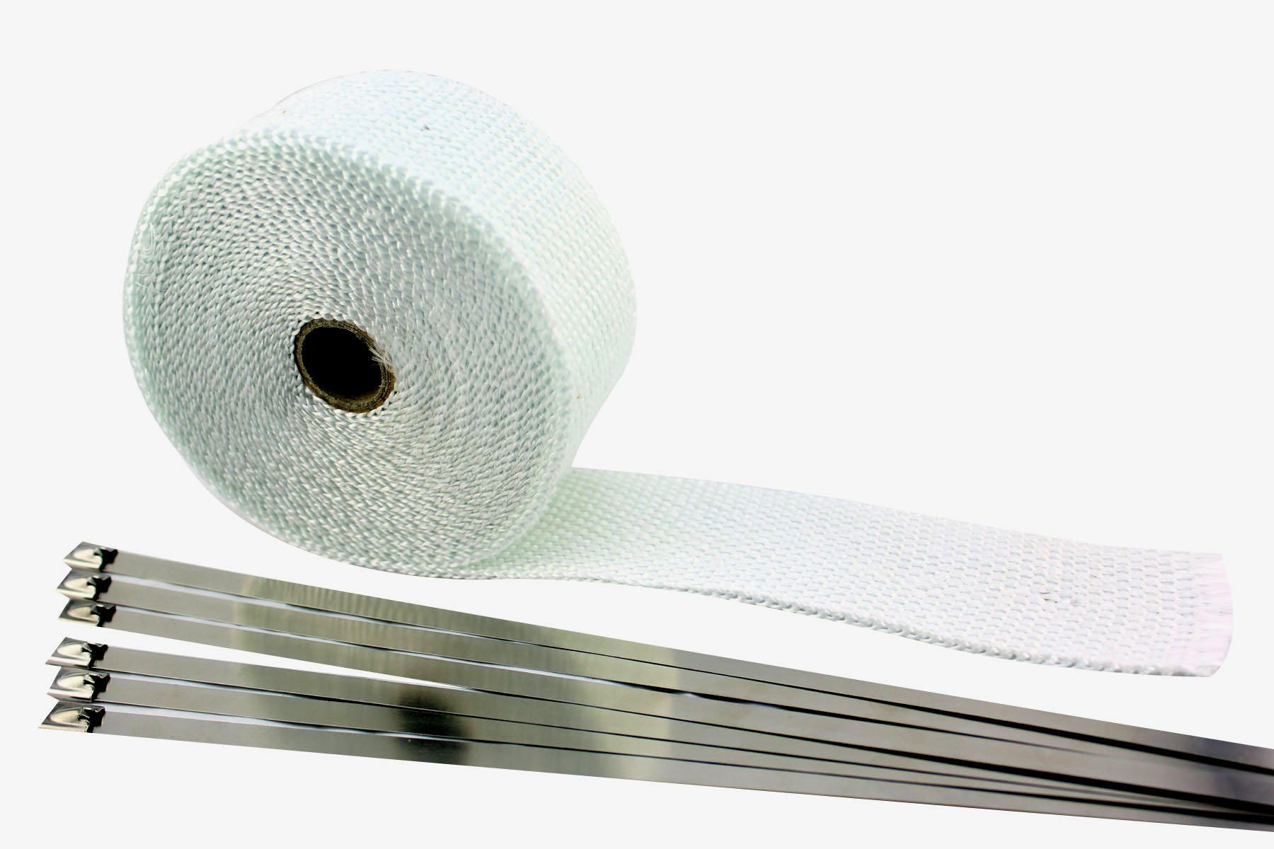 SWI Parts 2'' x25ft Roll White Racing Fiberglass Exhaust Header Pipe Wrap Tape W/6 Stainless Steel Zip Ties by SWI