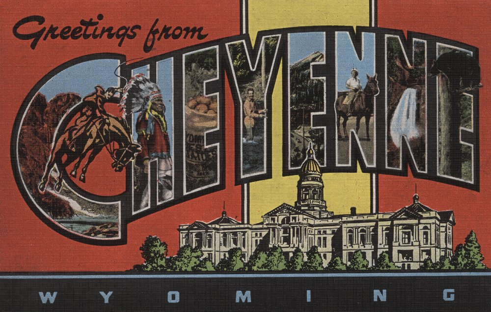 Greetings fromシャイアンワイオミング州、 36 x 54 Giclee Print LANT-7286-36x54 36 x 54 Giclee Print  B01MFB58J5