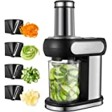 Aicok Electric Spiralizer, Vegetable Slicer with 4 Blades for Cutting, Stripping and Spiraling, Veggie Pasta & Spaghetti Maker, Stainless Steel Body, 2.5 Inch Wide Chute