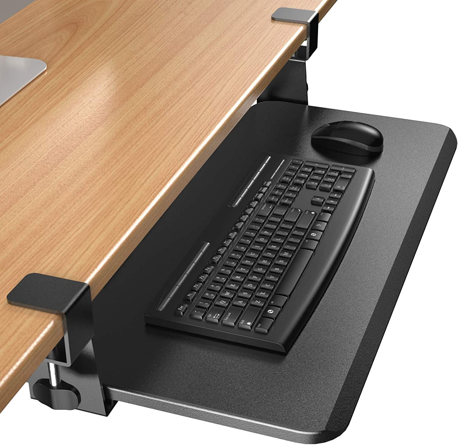 "ErGear Keyboard Tray Under Desk, Slide-Out Enlarged Keyboard Mouse Holder, Ergonomic Clamp on Computer Drawer Extender Measuring 26.3"" x 11.8"", Black - EGKB02"