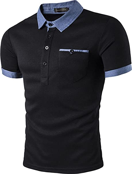 8b43609e13 Sportides Men s Casual Short Sleeve Polo Shirt T Shirt Tops JZA013 Black XS