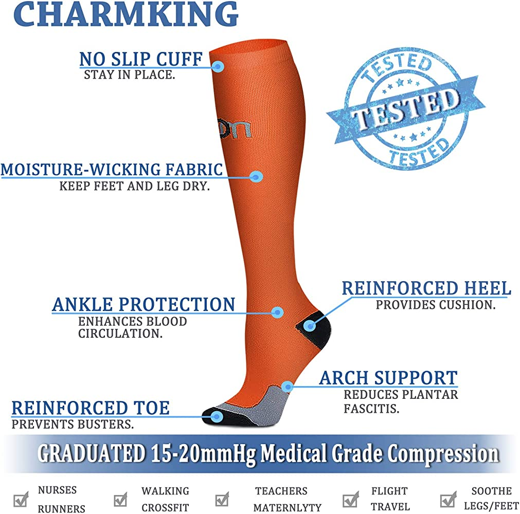 CHARMKING Compression Socks 15-20 mmHg is BEST Graduated Athletic & Medical for Men & Women Running, Travel, Nurses, Pregnant - Boost Performance Blood Circulation & Recovery(Large/X-Large,Assorted 2)