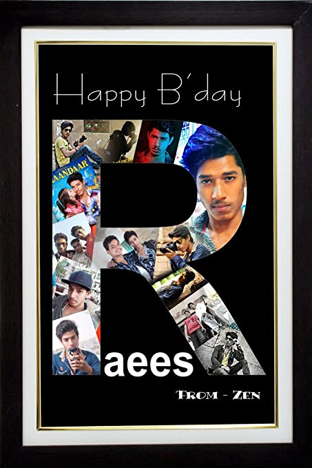 Personalized Happy Birthday Alphabets Photo Collage Any Alphabet Available With Frame 11x15 Inch
