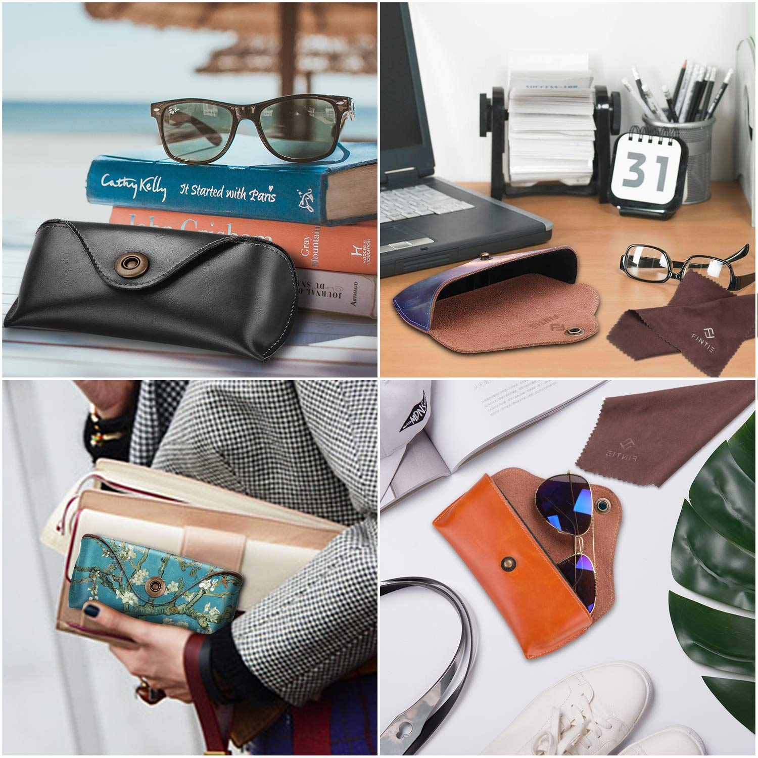 Fintie Portable Sunglasses Case, Semi-Hard Vegan Leather Glasses Carrying Case Eyewear Pouch with Snap Button Closure by Fintie (Image #8)