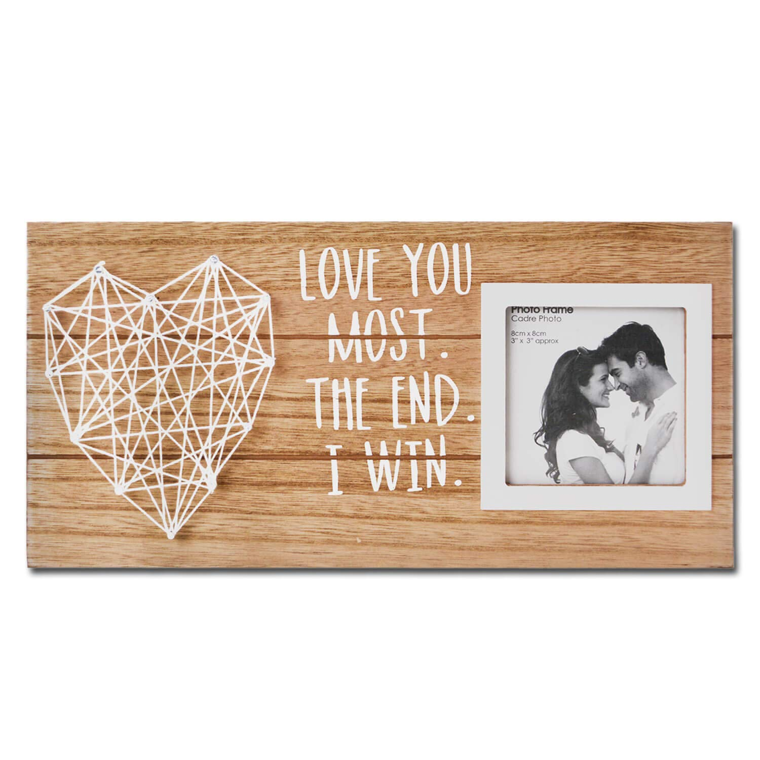 Vilight Love Picture Frame Couples Anniversary Gifts for Boyfriend and Girlfriend - Love You Most the End I Win Rustic Wood Plaque Sign for 3 Inches Photo