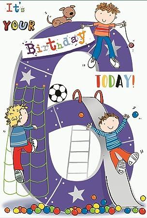 Age 6 Boy Birthday Card Little Boys Puppy Football Big Slide
