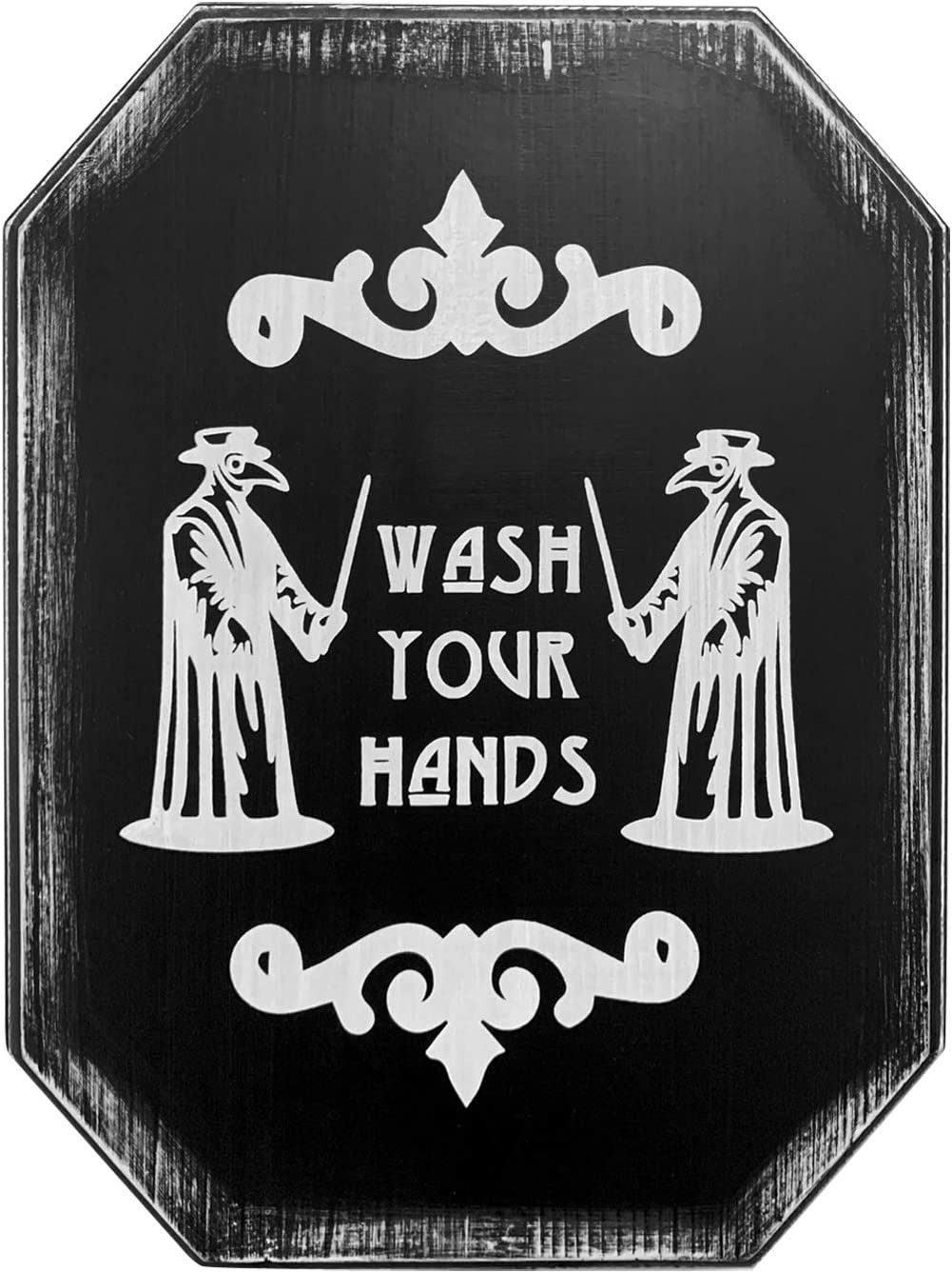 Plague Doctor Mask Wash Your Hands Sign - Gothic Decor, Horror Decor Of The Bathroom Sign - 12'' X 9'' Wood Wall Deocr