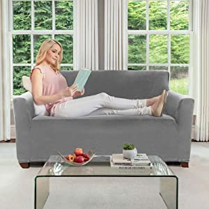 Gorilla Grip Original Velvet Fitted 1 Piece Small Sofa Slipcover, Stretch Up to 62 Inches, Soft Velvety Covers, Luxurious Slip Cover, Spandex Sofa Furniture Protector, with Fasteners, Gray