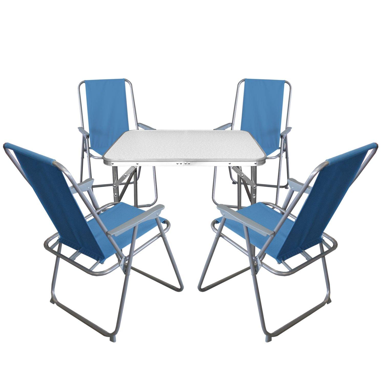 5tlg. Campingmöbel Set Klapptisch, Aluminium, 55x75cm + 4x ...