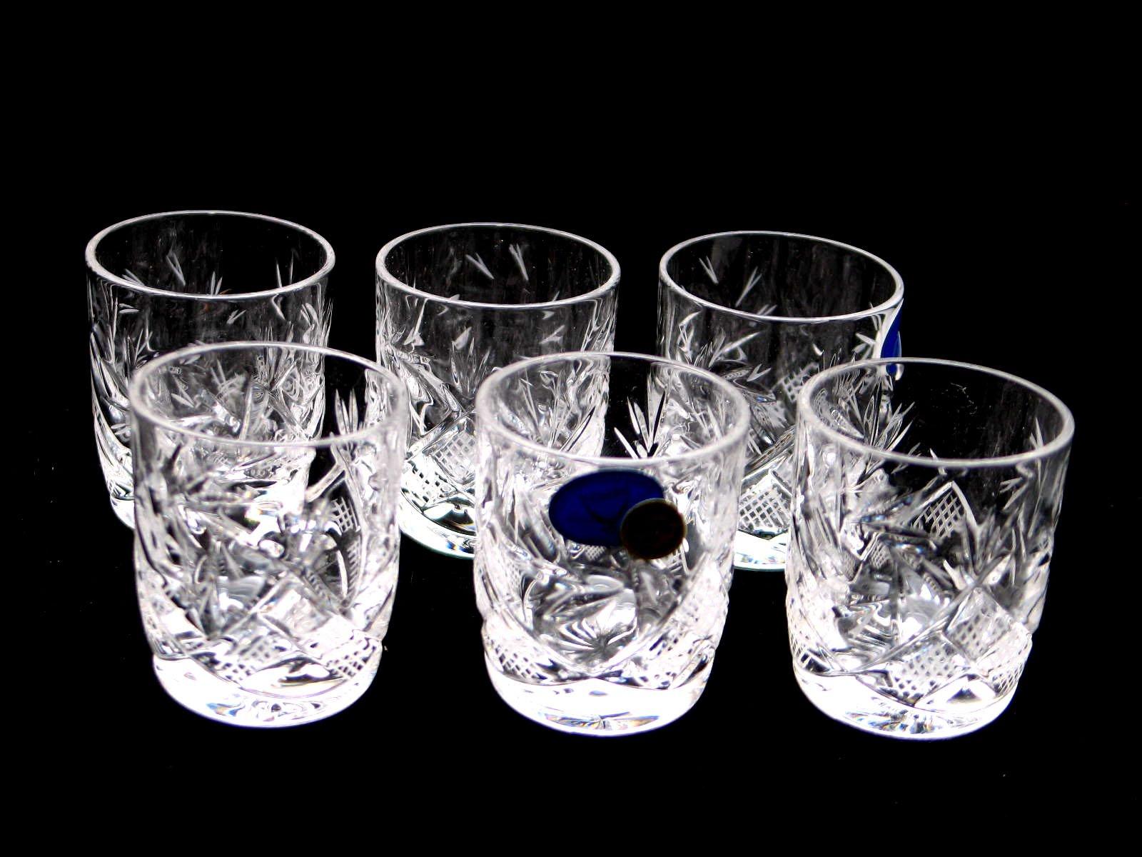 SET of 6 Russian Vintage CUT Crystal Stemless Shot Vodka Glasses 1.5 Oz / 50 ml, Old-fashioned Handmade European Crystal…