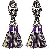 eManco Bohemian Ethnic Handcrafted Tassel Drop Dangle Earrings for Women Vintage Knot Alloy Jewelry(8 Colors)
