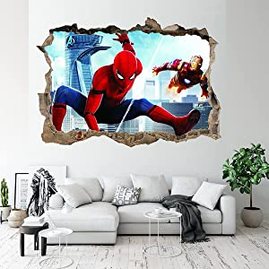 Superhero Wall Stickers 3D Spiderman Removable PVC Wall Decals Decoration, 3D Famous Hero Wall Decals Movie Characters Smashed Wall Stickers(19.7x27.6 Inch)