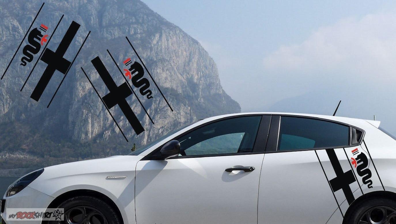 Myrockshirt Alfa Romeoaufkleber Sport Set Links Rechts Aufkleber Sticker Autoaufkleber Auto Lack Scheibe Auto
