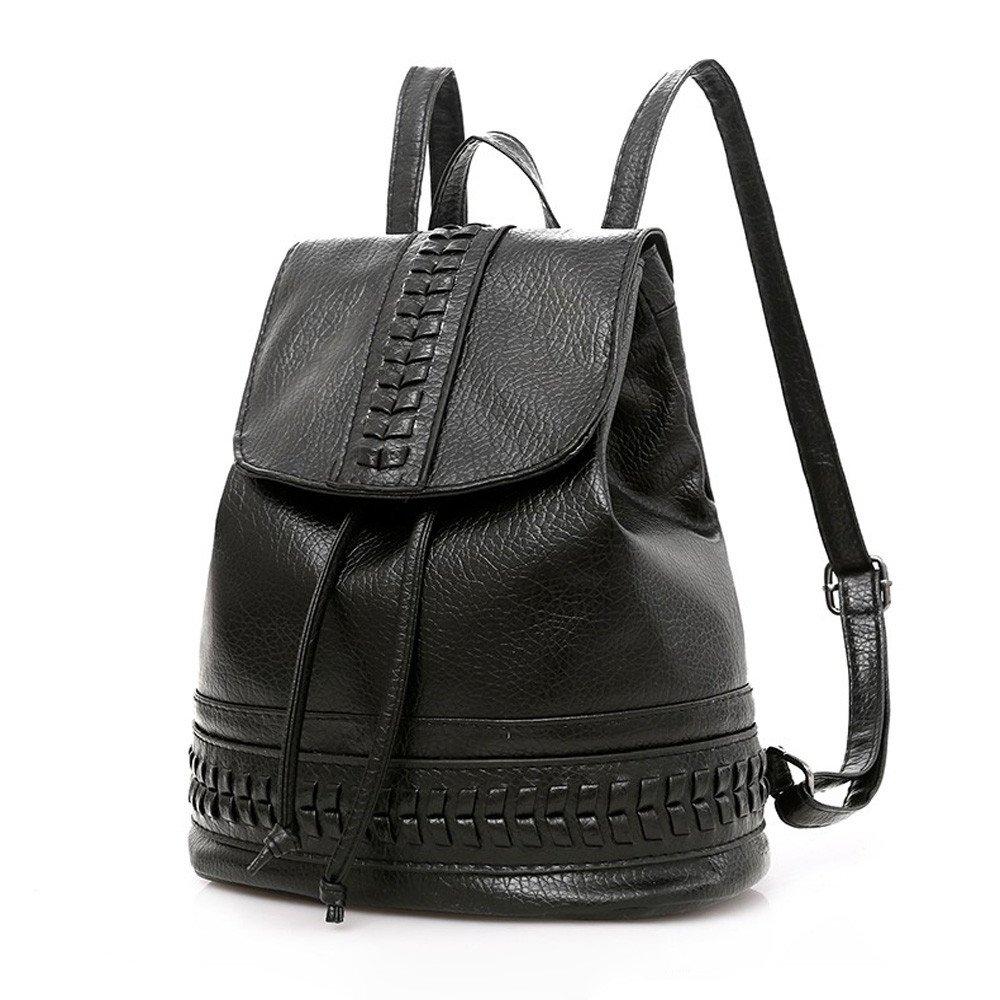 Womens Backpack Retro Leather Design Student College Bag Girls Shopping Bookbag Zulmaliu (Black)