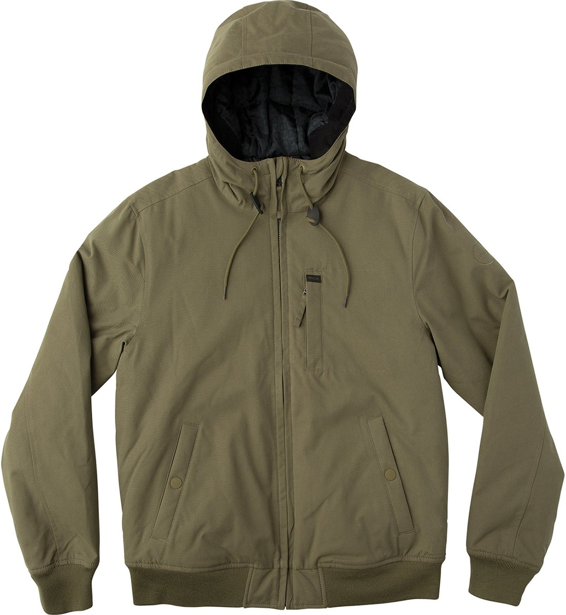 RVCA Men's Hooded Bomber Jacket, Burnt Olive, M