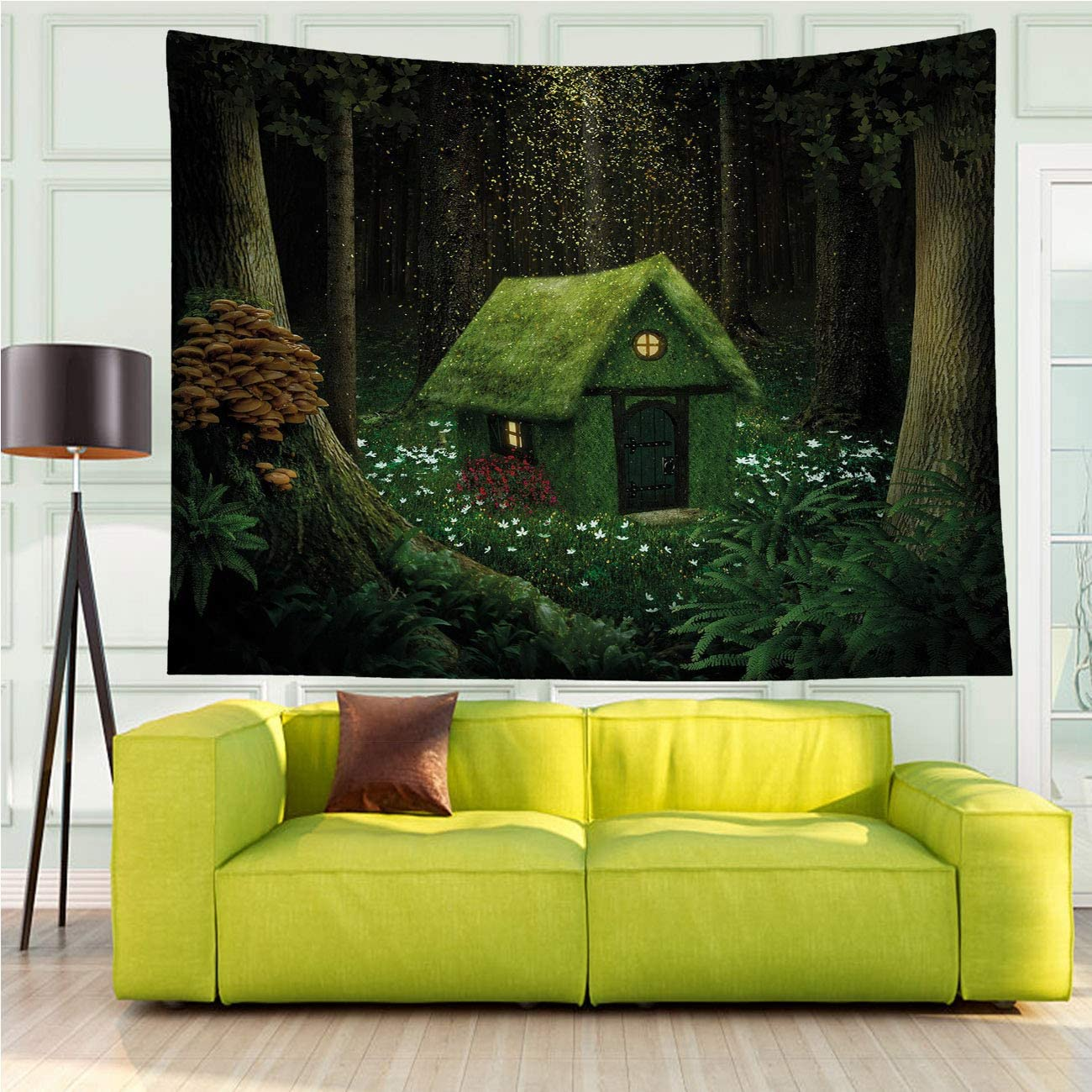 Tapestry Wall Hanging Versatile,Fantasy Surreal Little Forest House Moss Magic Forest Elves Green,Tapestry for Living Room Bedroom Dorm Home Decor,60x40 in