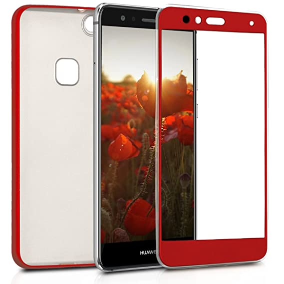 kwmobile Case for Huawei P10 Lite - Soft TPU Silicone Protective Cover Full Body Smartphone Case - Metallic Dark Red
