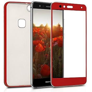 kwmobile Funda para Huawei P10 Lite - Carcasa Doble de TPU - Case de ambas Caras para móvil en Rojo Oscuro Metalizado