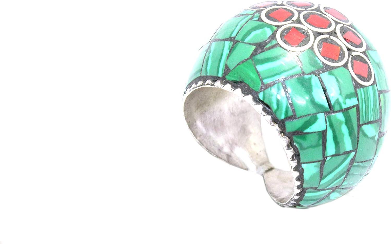Rajasthan Gems - Anillo de plata de ley 925 hecho a mano con piedras de malaquita y coral