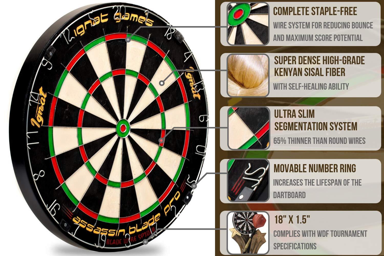 ignat games professional dartboard kit - bristle/sisal tournament dart  board with complete staple-free blade wire spider + 6 steel tip darts +  darts
