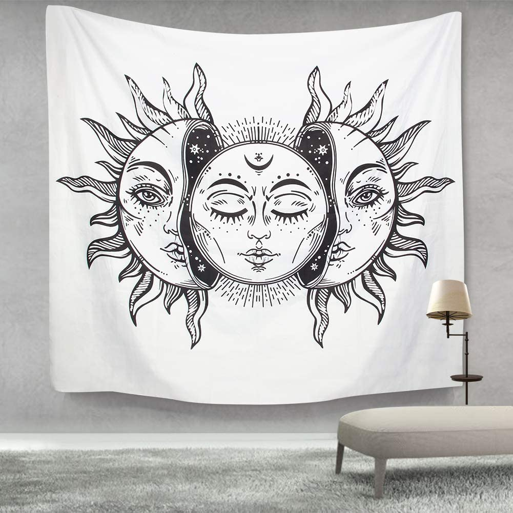 IDEALHOUSE Sun and Moon Tapestry Burning Sun with Star Tapestry Psychedelic Tapestry Black and White Mystic Tapestry Wall Hanging (51.2 × 59.1 inches)