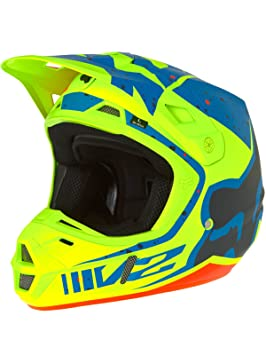 Casco Mx Fox 2017 V2 Nirv Amarillo-Azul (M , Amarillo)