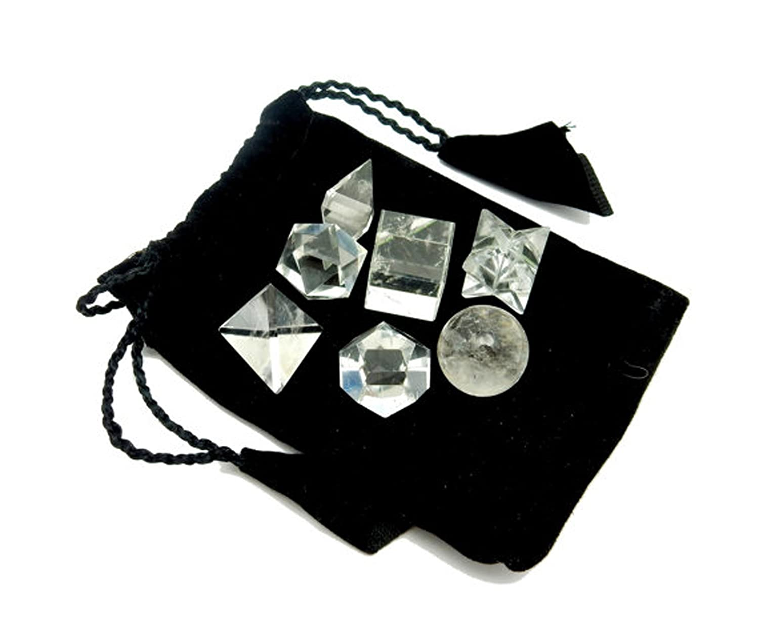 RK142B4 Crystal Quartz Geometric Shape Set Bag Rock Paradise Stones w//exclusive Rock Paradise COA