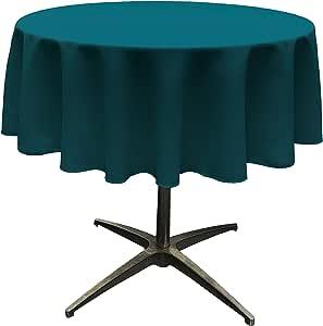 "LA Linen Polyester Poplin Round Tablecloth, 58"", Teal Dark"