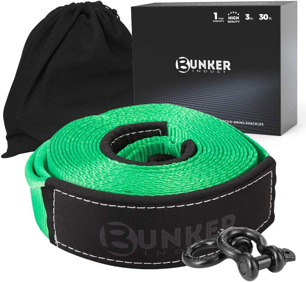 BUNKER INDUST Recovery Tow Strap Kit 3 x 20ft Heavy Duty 30,000 lbs Strength Tow Rope with Storage Bag and 2pcs D Ring Shackles-Emergency Off Road Truck Accessories Towing Strap Green