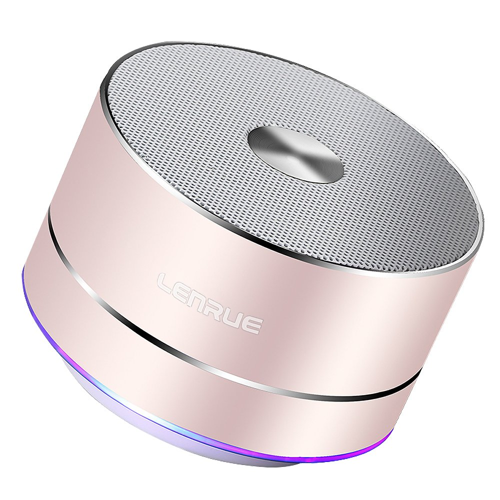 Bluetooth Speakers-LENRUE Portable Wireless Speaker with HD Sound,Long Playtime,Built-in-Mic,Micro SD Support for iPhone/ipad/Tablet/Laptop/Echo dot(Rose Gold)-(New Version)