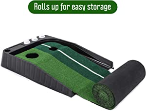 Golf Putting Trainer Indoor Golf Putting Mat Home Putting | Portable Mat with Auto Ball Return Function | Mini Golf Practice Training Aid | Game and Gift for Home
