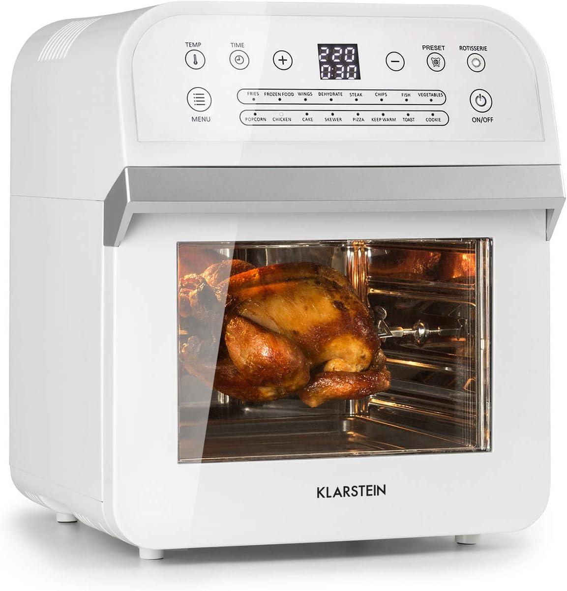 Klarstein AeroVital Cube Freidora de aire caliente - Sistema 3D Heating: 1600 W de potencia, 12 litros, 16 programas, Tecnología Highspeed-convection, Programable, 50 a 230 °C, 5 piezas, Blanco: Amazon.es: Hogar