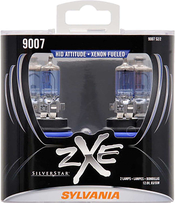SYLVANIA - 9007 (HB5) SilverStar zXe High Performance Halogen Headlight Bulb - Bright White Light Output, HID Attitude, Xenon Fueled Technology (Contains 2 Bulbs)
