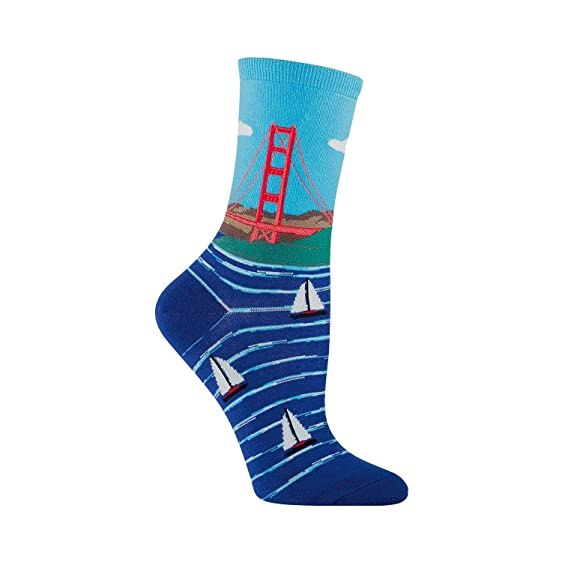cc1706011eab6 Amazon.com: Socksmith Women's Golden Gate Bridge Crew Socks (Bright ...