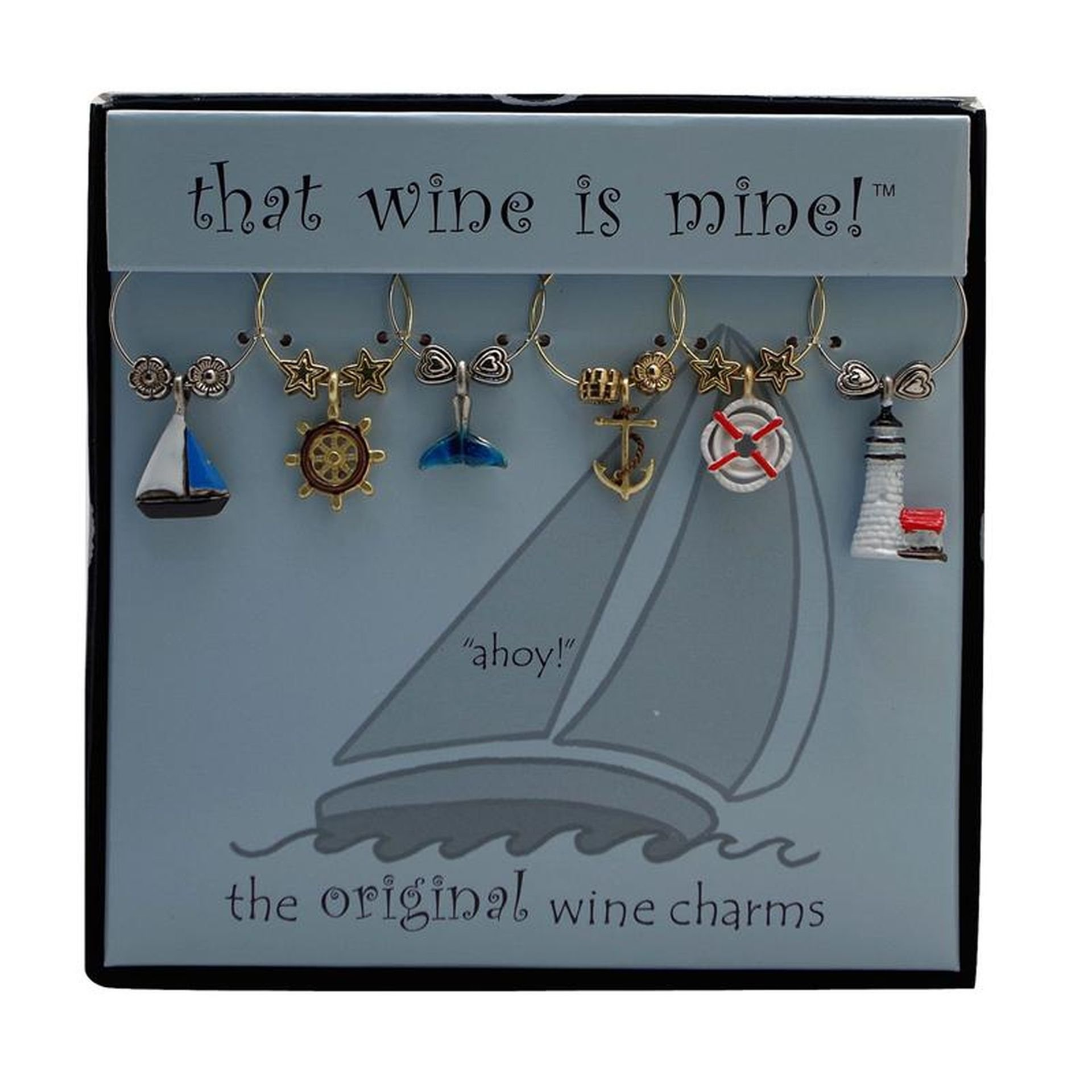 Wine Things WT-1406P Ahoy! Painted Wine Charms, Fits neatly around stem, Multi-Color