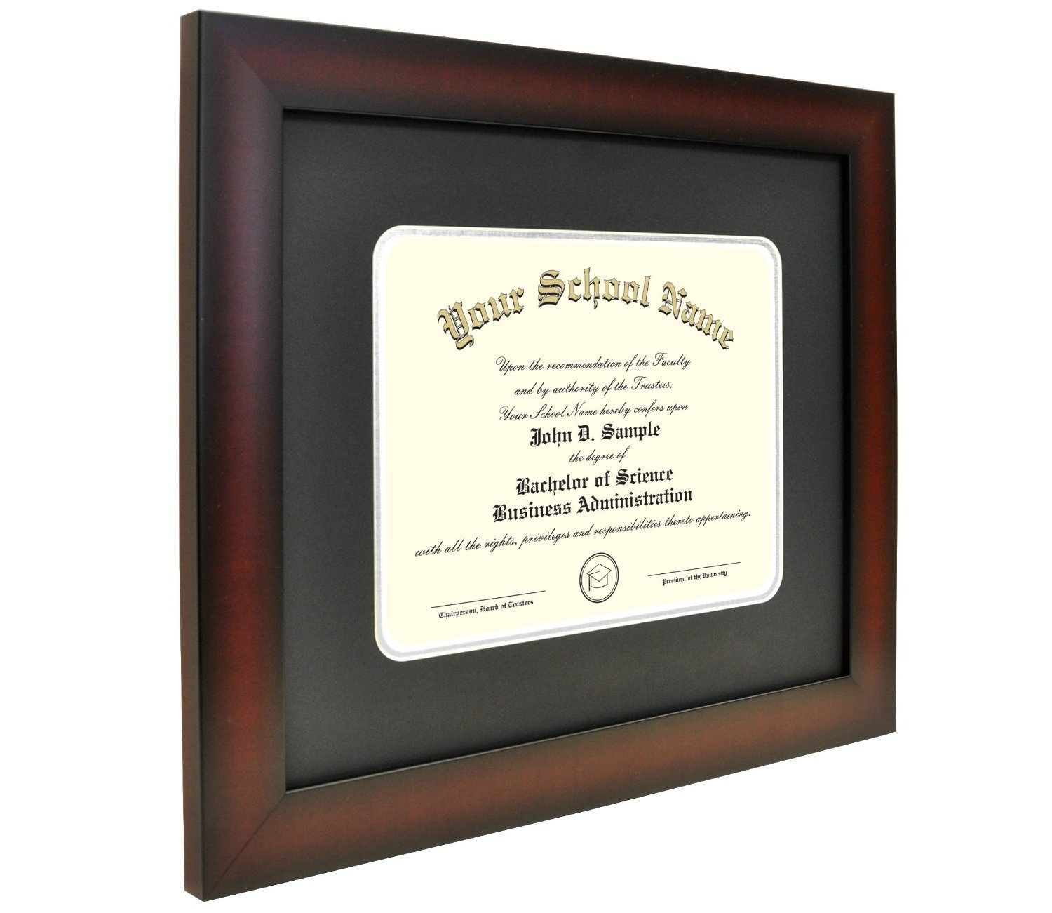 Celebration Frames Mahogany Finish Infinity Diploma Frame (fits 11 x 14 Document) with Black and Silver Mats