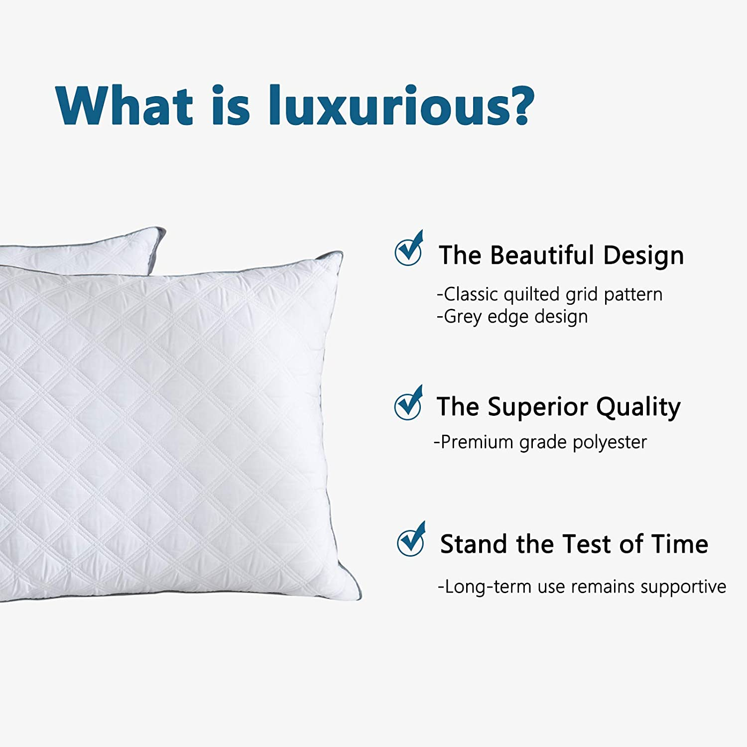 Good for Side and Back Sleepers White 2-Pack Soft and Supportive Quilted Pillows with Grey Gussets Lipo Standard Bed Pillows for Sleeping 20 x 26 Inch